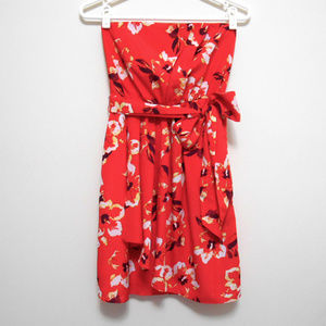 Express Red Strapless Floral Summer Dress